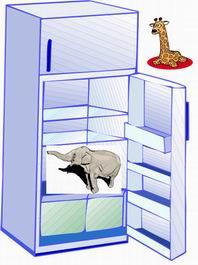 keluarkan jerapah dan masukkan gajah ke kulkas